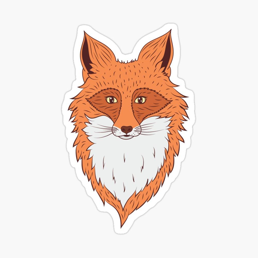 Orange Fox Head Drawing Art Board Print By Magneticmama Redbubble