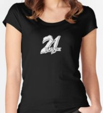 21 Savage Logo Women's Fitted Scoop T-Shirt
