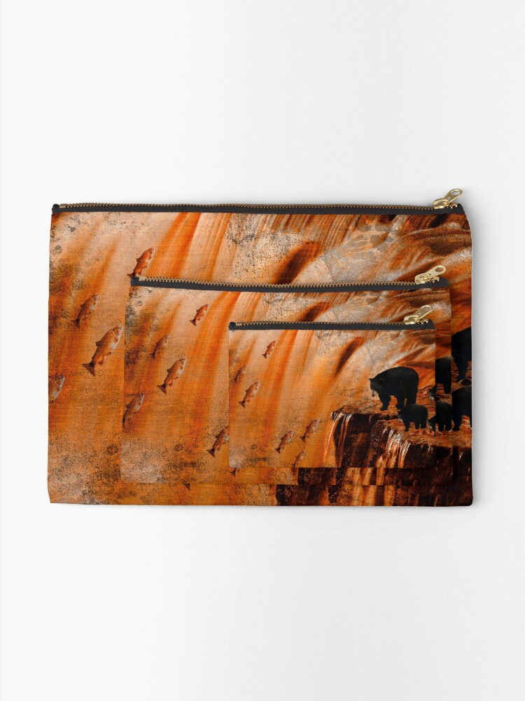 Alternate view of Bears Fishing on a Waterfall Zipper Pouch