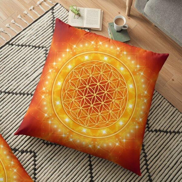 Flower of Life - Golden Light Energy Bodenkissen