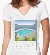 Lido Poster Plymouth Tinside Women's Fitted V-Neck T-Shirt