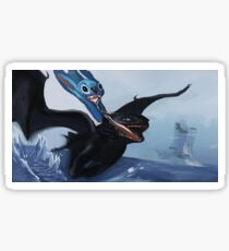 stitchs first flying lesson  Sticker