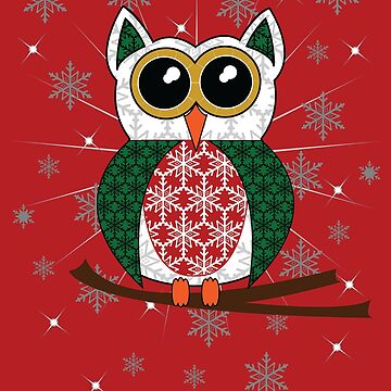Festive Christmas Snowflake Owl by Mayhill