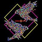 Mosaic birds on black background. by InnaPoka