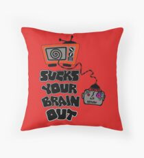 t.v. sucks your brain out mallowcolor Throw Pillow
