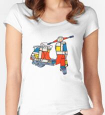 Vespa scooter, Piet Mondrian Women's Fitted Scoop T-Shirt
