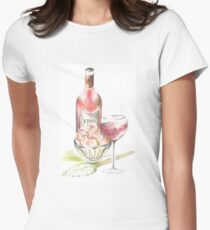 Vino with strawberries Womens Fitted T-Shirt