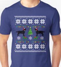 Black Labrador Happy Christmas Sweater Pattern  T-Shirt