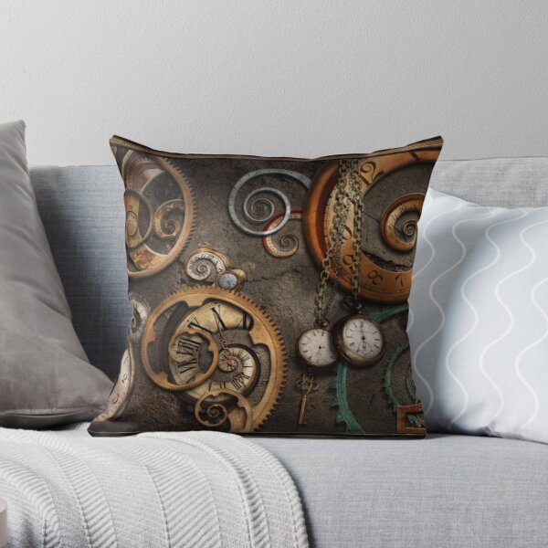 Steampunk - Abstract - Time is complicated Throw Pillow