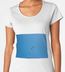 Seagulls Flying in The Blue Sky. Women's Premium T-Shirt