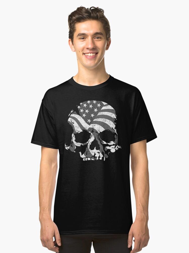 Skull USA BW  Classic T-Shirt Front