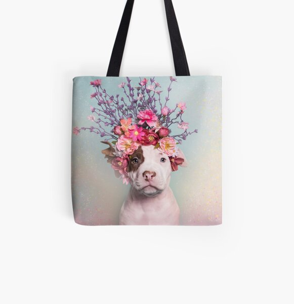 Flower Power, Rum All Over Print Tote Bag