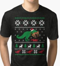 Dinosaur Ugly Christmas Sweater - Funny Christmas Gift Tri-blend T-Shirt