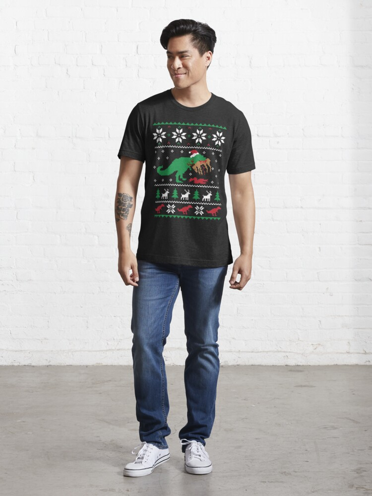 Alternate view of Dinosaur Ugly Christmas Sweater - Funny Christmas Gift Essential T-Shirt