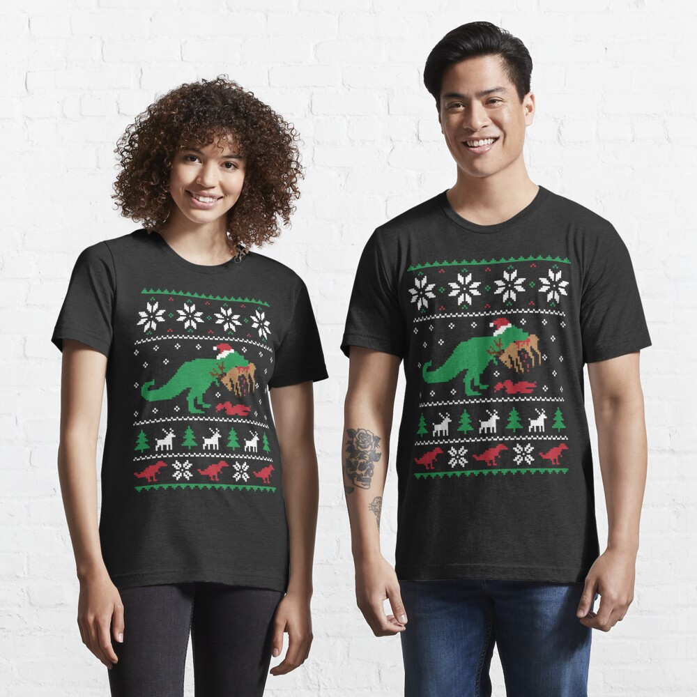 Dinosaur Ugly Christmas Sweater - Funny Christmas Gift Essential T-Shirt
