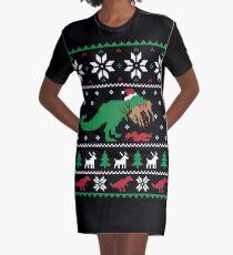 Dinosaur Ugly Christmas Sweater - Funny Christmas Gift Graphic T-Shirt Dress