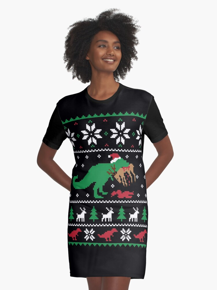 Ugly Christmas Sweater Funny.Dinosaur Ugly Christmas Sweater Funny Christmas Gift Graphic T Shirt Dress By Hudsonvibes
