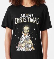 Meowy Christmas Slim Fit T-Shirt