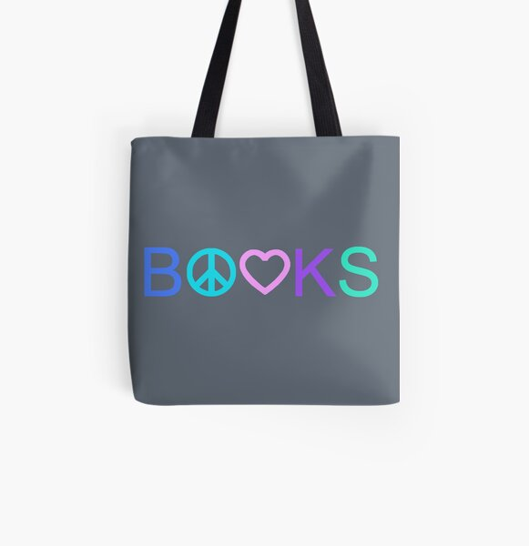 Peace, Love, and Books - New Tropical Colors All Over Print Tote Bag