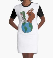 Bear and Rabbit go globetrotting Graphic T-Shirt Dress