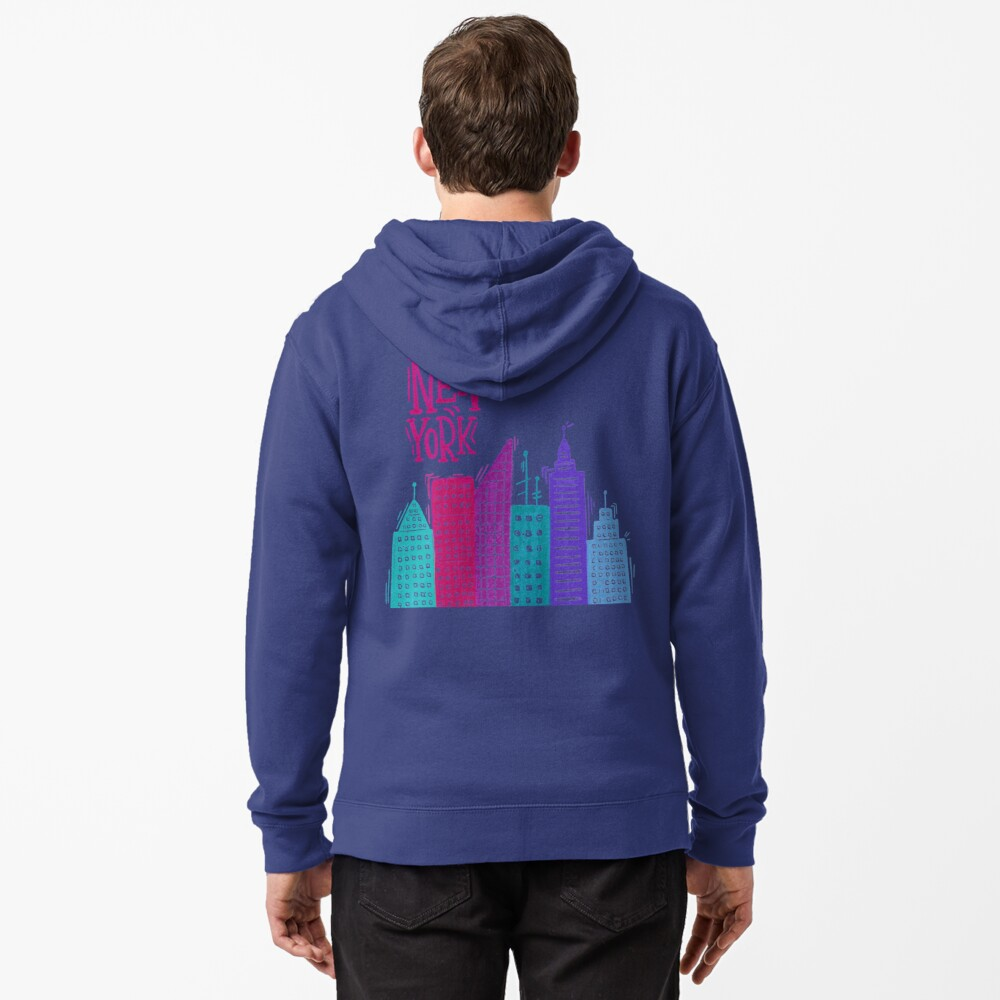 New York Pencil drawing Zipped Hoodie