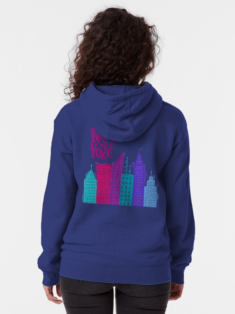 Alternate view of New York Pencil drawing Zipped Hoodie