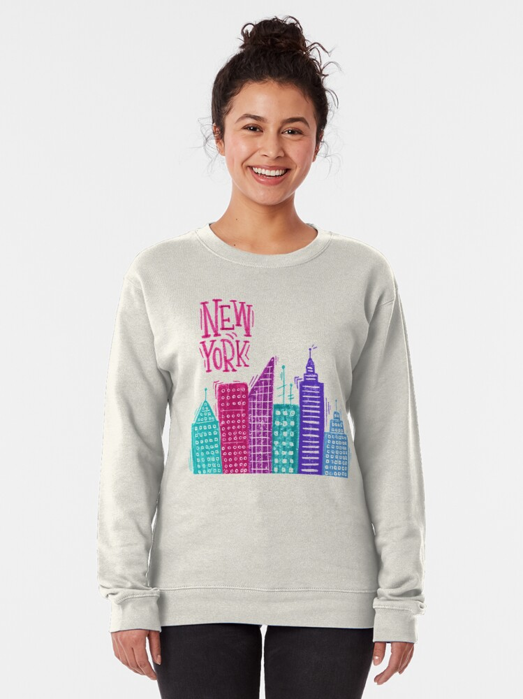 Alternate view of New York Pencil drawing Pullover Sweatshirt