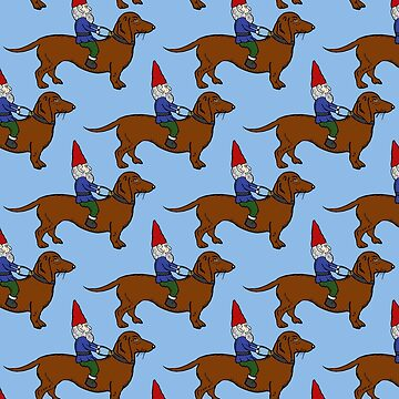 Gnome Riding a Dachshund Pattern, Light Blue Background by vivasweetlove