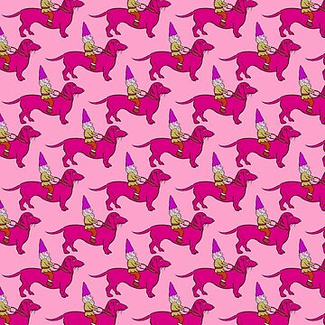 Gnome Riding a Dachshund Pattern, Pink Palette by vivasweetlove