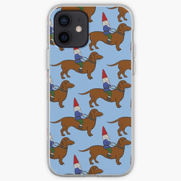 Gnome Riding a Dachshund Pattern, Light Blue Background iPhone Soft Case