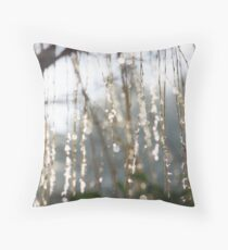 Sparkling ice crystals on weeping willow Throw Pillow