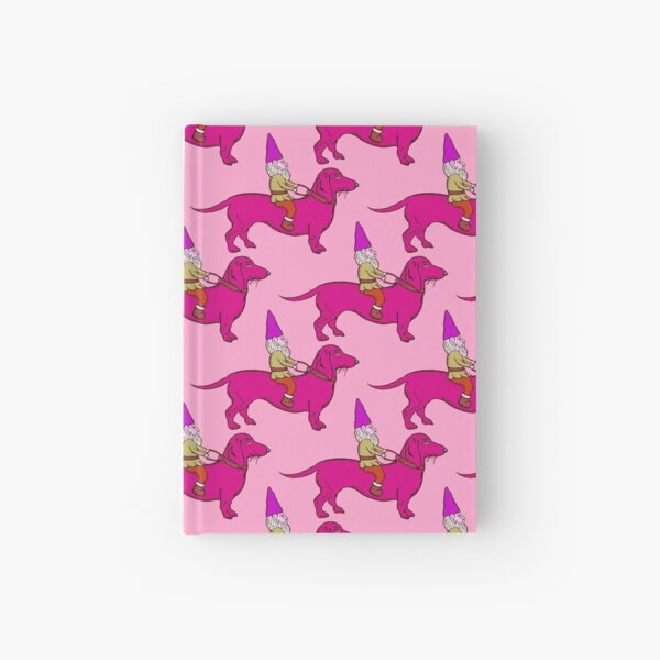 Gnome Riding a Dachshund Pattern, Pink Palette Hardcover Journal