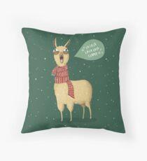 Christmas holiday Llama Throw Pillow