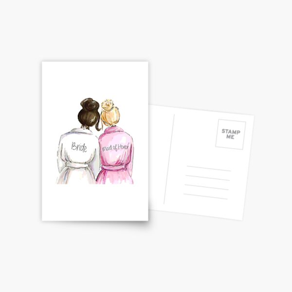 Wedding Gifts/Bridal Shower Gifts - Best Cute Engagement Gift for Her, Bride, Maid of Honor, Women, Best Friend or Sister - Bride and Maid of Honor Postcard