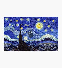 A Starry Night Van Gogh Mountain Inspiration With Tardis Photographic Print
