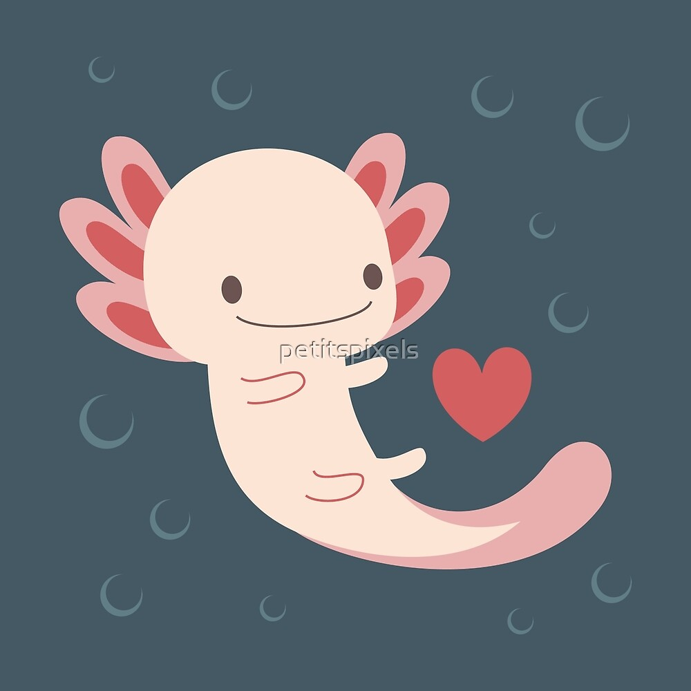 Axolotls hearts and bubble by petitspixels