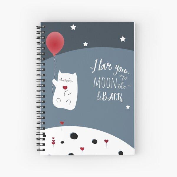 Cat Moon Love Spiral Notebook