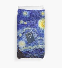 A Starry Night Van Gogh Mountain Inspiration With Tardis Duvet Cover