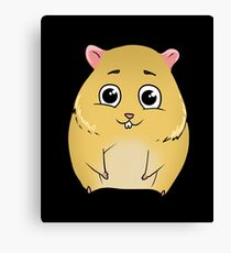 Cute Teddy Hamster Gold Brown Golden Hamster Canvas Print