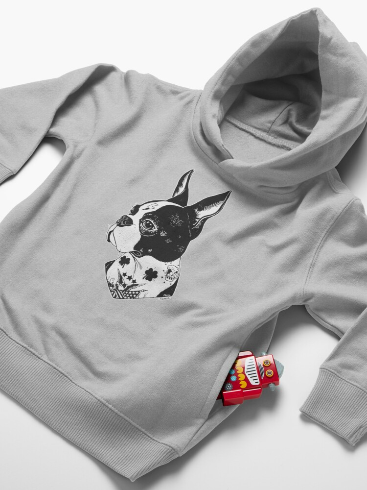 Alternate view of Tattooed Boston Terrier  Toddler Pullover Hoodie