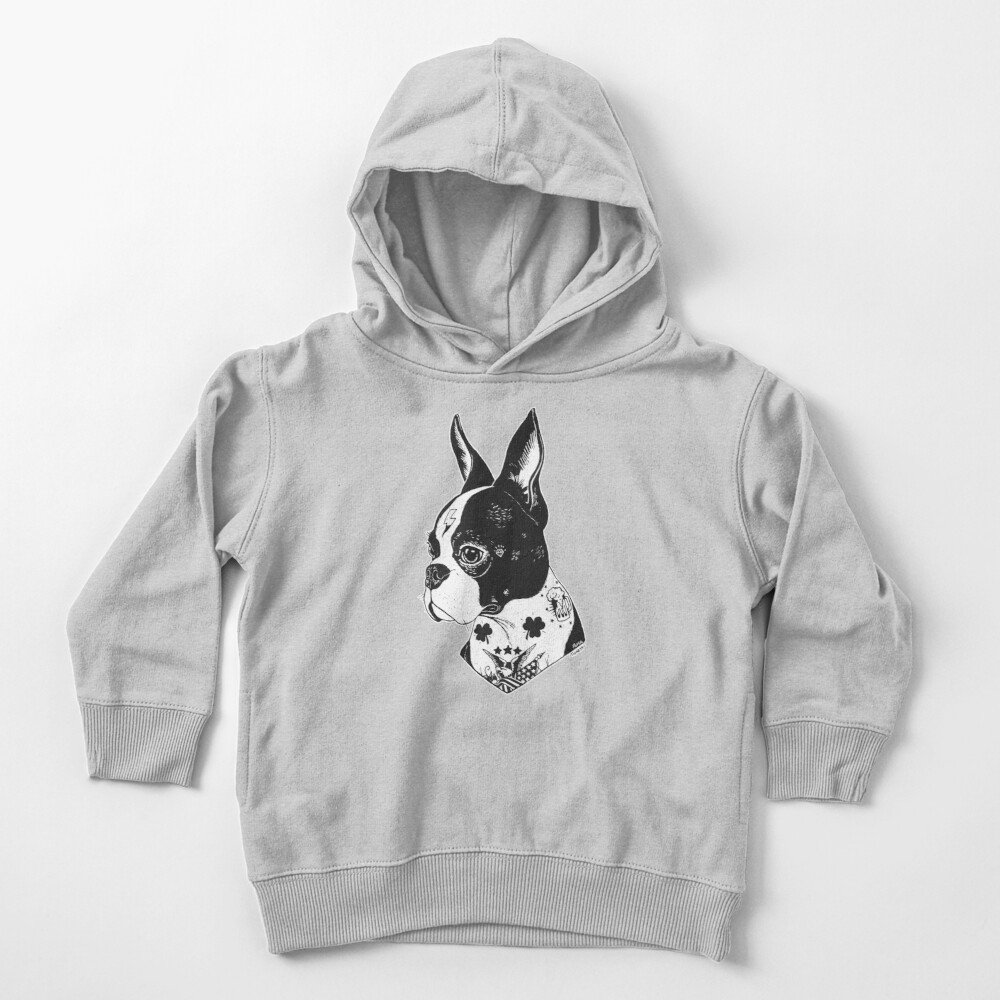 Tattooed Boston Terrier  Toddler Pullover Hoodie