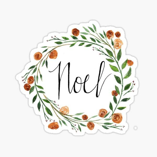 """Noel"" Holiday Wreath Sticker"