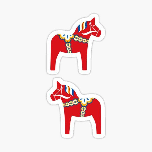 Scandinavian dala horse stickers, set of two Sticker