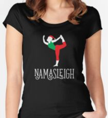 Namasleigh Yoga Christmas Dancer's Pose Women's Fitted Scoop T-Shirt