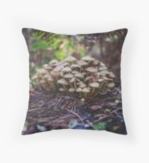 Woodland fairy mushrooms in Thetford forest, England Throw Pillow