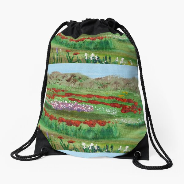 Poppy garden Drawstring Bag
