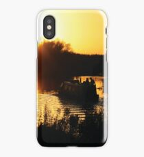 Narrowboat lovers at sunset - Fenland, England iPhone Case