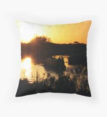 Narrowboat lovers at sunset - Fenland, England Throw Pillow