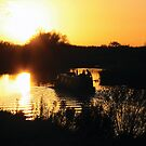 Narrowboat lovers at sunset - Fenland, England by Lizzy Doe