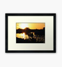 Narrowboat lovers at sunset - Fenland, England Framed Print